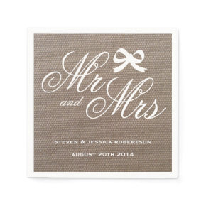 Mr and Mrs rustic burlap country wedding napkins Standard Cocktail Napkin