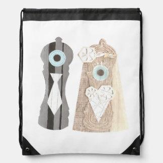 Mr and Mrs Salt n Pepper Drawstring Bag
