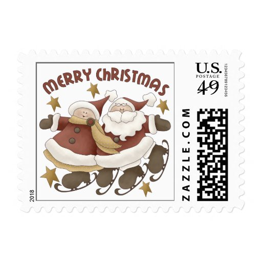 Mr. And Mrs. Santa Claus Christmas Stamps