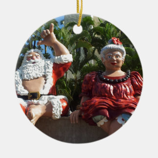 Mr and Mrs Santa Claus Double-Sided Ceramic Round Christmas Ornament