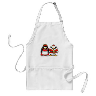 Mr. and Mrs. Santa Claus Penguin Adult Apron