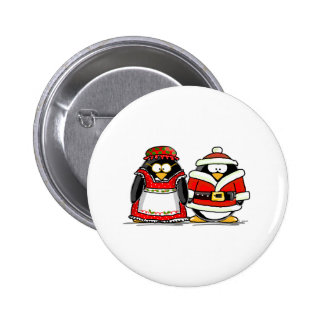 Mr. and Mrs. Santa Claus Penguin 2 Inch Round Button