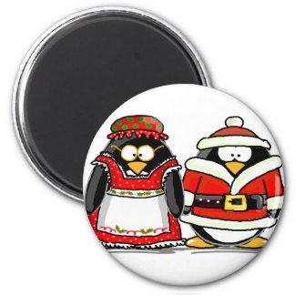 Mr. and Mrs. Santa Claus Penguin Refrigerator Magnets