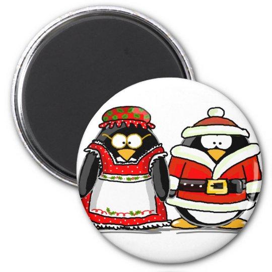 Mr. and Mrs. Santa Claus Penguin Magnet
