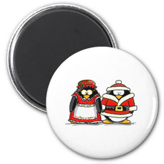 Mr. and Mrs. Santa Claus Penguin Magnets