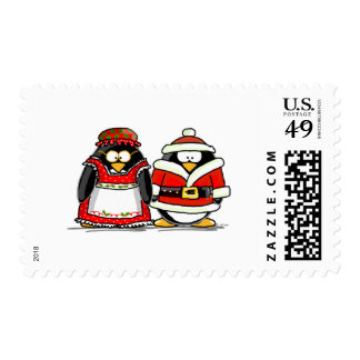 Mr. and Mrs. Santa Claus Penguin Stamps