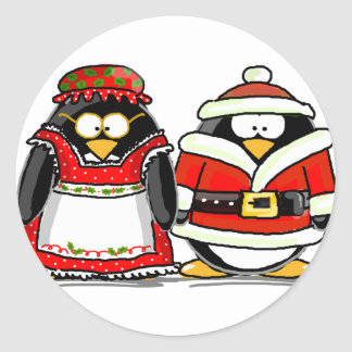 Mr. and Mrs. Santa Claus Penguin Round Stickers