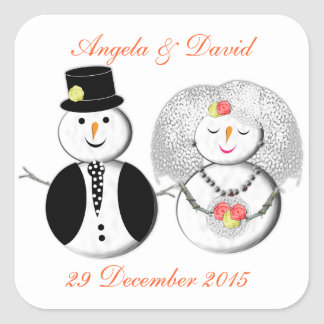 Mr and Mrs Snowman Cute Snow Bride and Groom Square Stickers