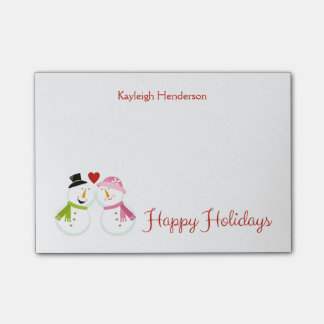 Mr and Mrs Snowman in Love Christmas Holidays Post-it® Notes