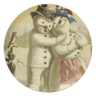 Mr and Mrs Snowman plate