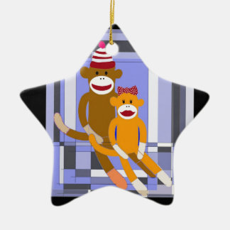 Mr. and Mrs. Sock Monkey. Ceramic Ornament