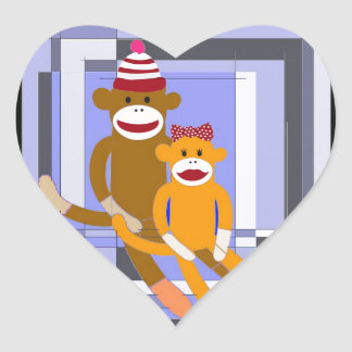 Mr. and Mrs. Sock Monkey. Heart Sticker