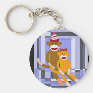 Mr. and Mrs. Sock Monkey. Keychain