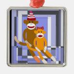 Mr. and Mrs. Sock Monkey. Ornament