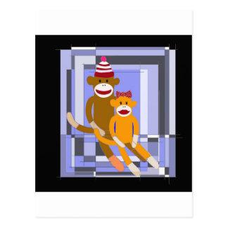 Mr. and Mrs. Sock Monkey. Post Card