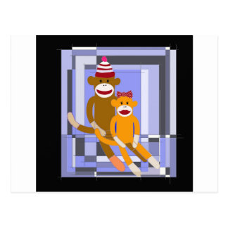 Mr. and Mrs. Sock Monkey. Postcard