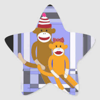 Mr. and Mrs. Sock Monkey. Star Sticker