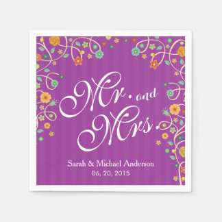 Mr. and Mrs. Stylish Purple Swirl Floral Wedding Napkin