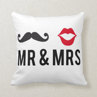 Mr and Mrs, text design with mustache and red lips Throw Pillow