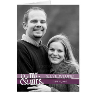 Mr. and Mrs. Thank You Card - Purple