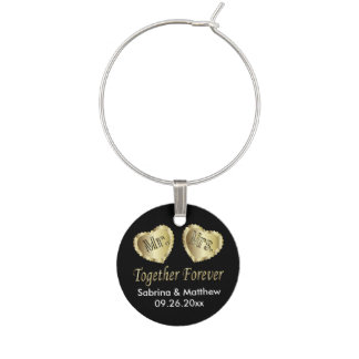 Mr and Mrs Together Forever in Gold & Black | DIY Wine Glass Charm