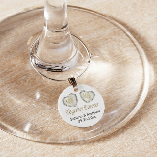 Mr and Mrs Together Forever in Silver & Gold Wine Glass Charm