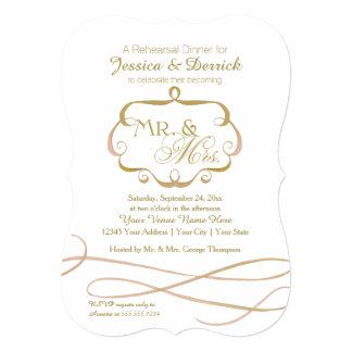 Mr and Mrs Typography Flourish Scroll Watercolor Invites