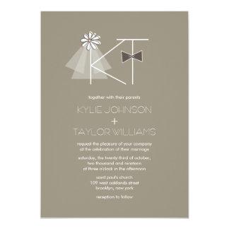 Mr and Mrs Veil & Bow Tie Monogram Wedding Invite