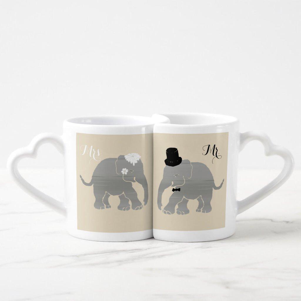 Mr. and Mrs. Vintage Groom and Bride Elephants Coffee Mug Set