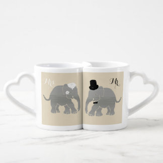 Mr. and Mrs. Vintage Groom and Bride Elephants Coffee Mug Set