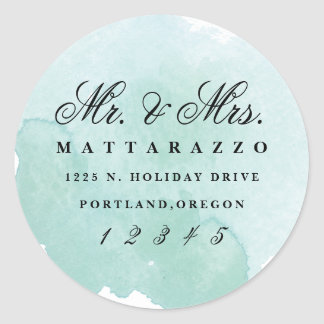 Mr. and Mrs. watercolor return address sticker