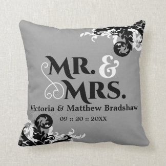 Mr. and Mrs. Wedding Customizable Background Color Pillow