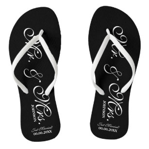 faac3ae8b56f Mr and Mrs wedding flip flops for bride and groom