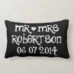 Mr and Mrs wedding lumbar pillow for newly weds