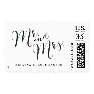 Mr. and Mrs. wedding postage stamp