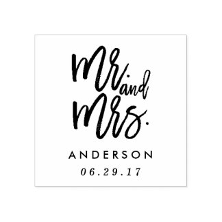 Mr. and Mrs. Wedding Rubber Stamp