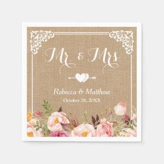Mr. and Mrs. Wedding Rustic Burlap Floral Frame Paper Napkin