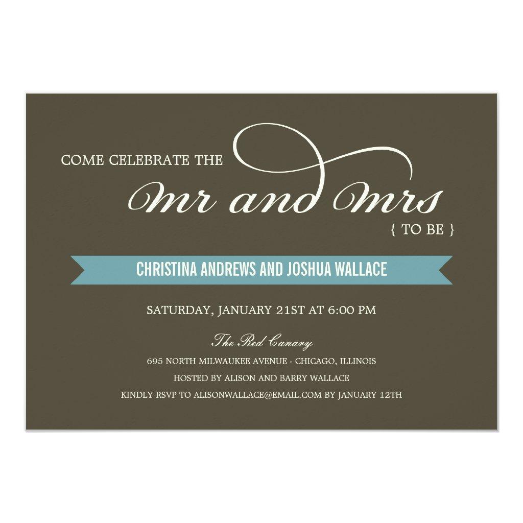Mr and Mrs Wedding Shower /Rehearsal Dinner Invite