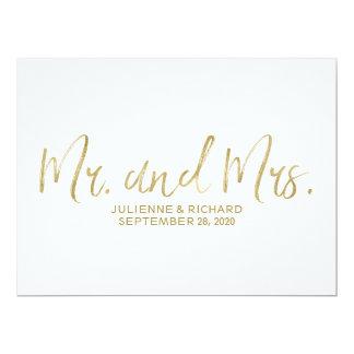 """Mr. and Mrs."" Wedding Sign | Stylish Golden Invitation"