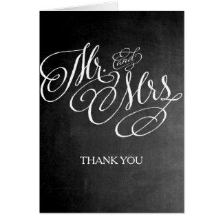 Mr. and Mrs. Wedding Thank you card Chalkboard