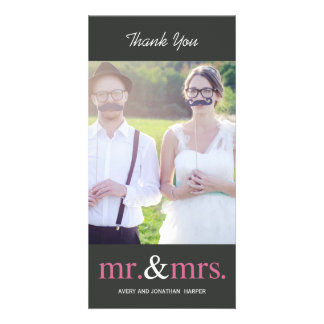 MR. AND MRS. Wedding Thank You Cards - Gray Photo Card Template