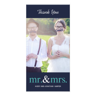 MR. AND MRS. Wedding Thank You Cards - Navy Blue Custom Photo Card