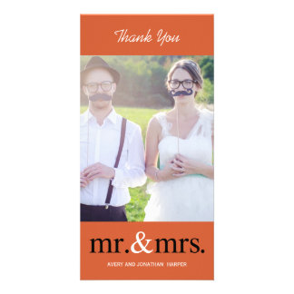 MR. AND MRS. Wedding Thank You Cards - Orange Photo Greeting Card