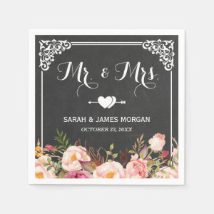 Mr. and Mrs. Wedding Vintage Chalkboard Flowers Napkin