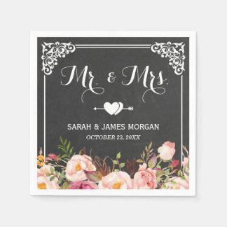 Mr. and Mrs. Wedding Vintage Chalkboard Flowers Napkin
