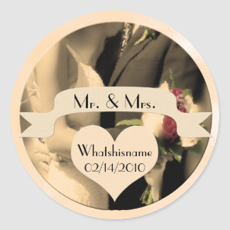 Mr and Mrs Wedding with Name and Date in Sepia Classic Round Sticker
