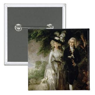 Mr and Mrs William Hallett , c.1785 2 Inch Square Button