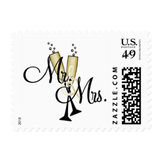 Mr and Mrs With Champgne Stamps