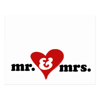 mr and mrs with heart postcard