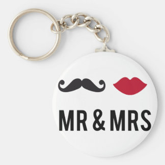 mr. and mrs. with mustache and red lips basic round button keychain